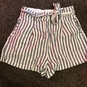 White and blue striped linen shorts size 10